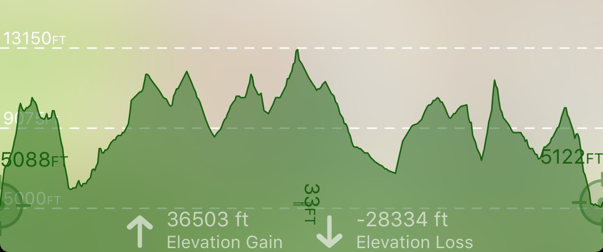My original route's elevation chart.